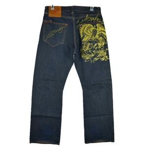 ED Hardy Button Fly Jeans Eagle & Rattlesnake 36